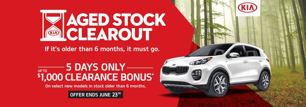 Aged Stock Clearout, 5 days only, up to $1,000 Clearance Bonus. on Select new models in stock older than 6 months Offer ends June 18th