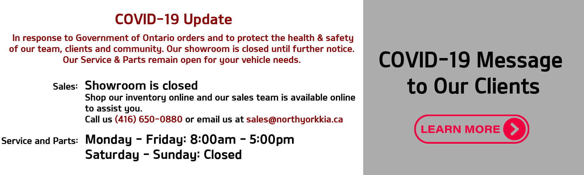 North York Kia COVID19 Update