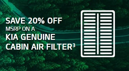20% off MSRP on a Kia Genuine Cabin Air Filter