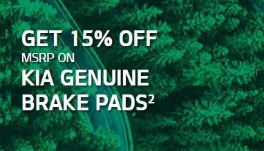 15% off MSRP on Kia Genuine Brake Pads